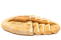 Bread slices on white background. Royalty Free Stock Image