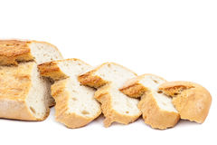 Bread slices on white background. Stock Images
