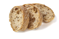 Bread slices on white background Royalty Free Stock Photos