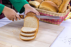 Bread slicing Royalty Free Stock Photo