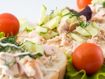 Bread with smoked chicken and cucumber. Royalty Free Stock Images