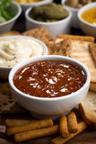 Bread snacks and sauces, vertical Stock Photography