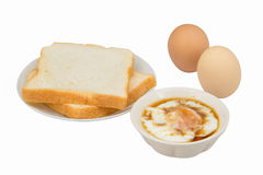 Bread and soft boiled egg Stock Images