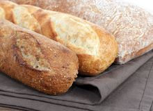 Bread. Some kind of rustic bread display in market place stock photo
