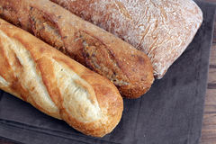 Bread. Some kind of rustic bread display at market place royalty free stock photos