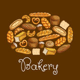 Bread sorts in shape of bread loaf. Bakery emblem Stock Photos