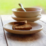 Bread and soup Royalty Free Stock Photos