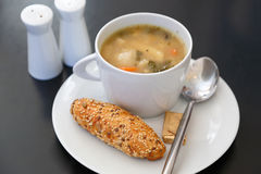 Bread and soup Royalty Free Stock Image