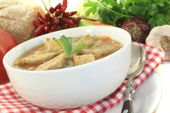 Bread soup with chilli Stock Photo