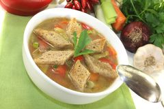 Bread soup with chilli Royalty Free Stock Image