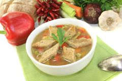 Bread soup with croutons Royalty Free Stock Photography