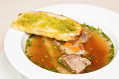 Bread soup with veal Royalty Free Stock Images