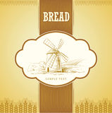 Bread Spaghetti. pasta. Bakery. labels, pack for s. Windmill on the field. labels, pack for spaghetti, pasta bread Royalty Free Illustration