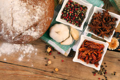Bread and spices Royalty Free Stock Image