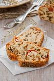 Bread with spices and vegetables. Bread with spices, cherry tomatoes and aubergine royalty free stock photos