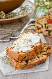Bread with spices and vegetables. Bread with spices, cherry tomatoes and aubergine stock photo