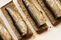 Bread with sprats closeup Royalty Free Stock Images