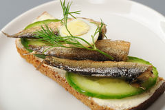 Bread with sprats and egg stock photography