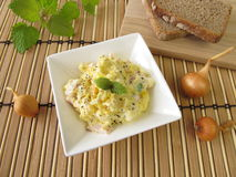 Bread spread with corn and lemon balm Stock Photos