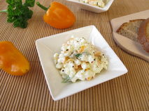Bread spread with cottage cheese, olives and sweet peppers Stock Images
