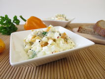 Bread spread with cottage cheese, olives and sweet peppers Royalty Free Stock Photography
