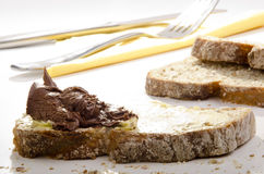 bread spread with nougat cream Stock Images