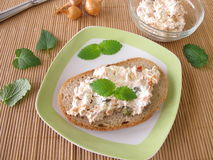 Bread spread with tuna and cream cheese Stock Photo