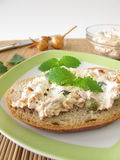 Bread spread with tuna and cream cheese Royalty Free Stock Image