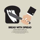 Bread with Spread. Vector Illustration Stock Photo