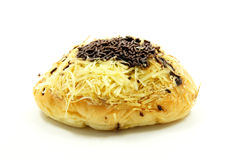 Bread with a sprinkling of chocolate and cheese Royalty Free Stock Photos