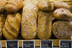 Bread on a stand in a bakery. Or food market Royalty Free Stock Photo