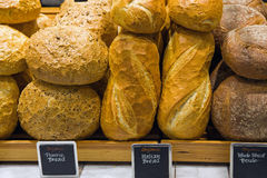 Bread on a stand in a bakery. Or food market Royalty Free Stock Photography
