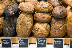 Bread on a stand in a bakery. Or food market Royalty Free Stock Photos