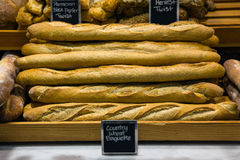 Bread on a stand in a bakery. Or food market Stock Photo