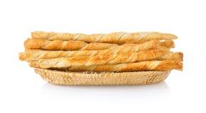 Bread sticks in basket Stock Photos