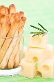 Bread sticks and cheese Stock Images