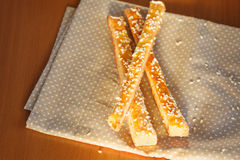Bread sticks  with cheese  on  the napkin Royalty Free Stock Photography