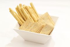 Bread sticks and crackers Stock Images