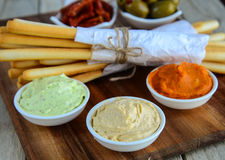 Bread sticks with dip. Bread sticks served with dips for business breakfast Stock Image
