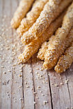 Bread sticks grissini with sesame seeds Royalty Free Stock Photos