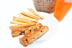 Bread sticks with Orange juice  close-up Stock Photos