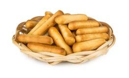 Bread sticks with salt in wicker basket Stock Photography