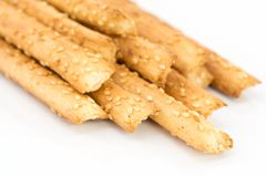 Bread sticks with sesame seeds stock photos