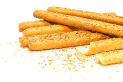 Bread sticks with sesame. On the white Stock Photos