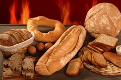 Bread still life with varied shapes royalty free stock images