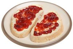 Bread and Strawberry Jam Stock Photo