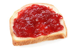 Bread with strawberry jam Stock Photography