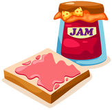 Bread with strawberry jam jar