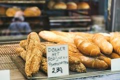 Bread in street food market in Mechelen stock images