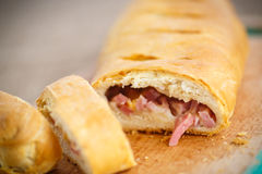 Bread stuffed with cheese and bacon Royalty Free Stock Images